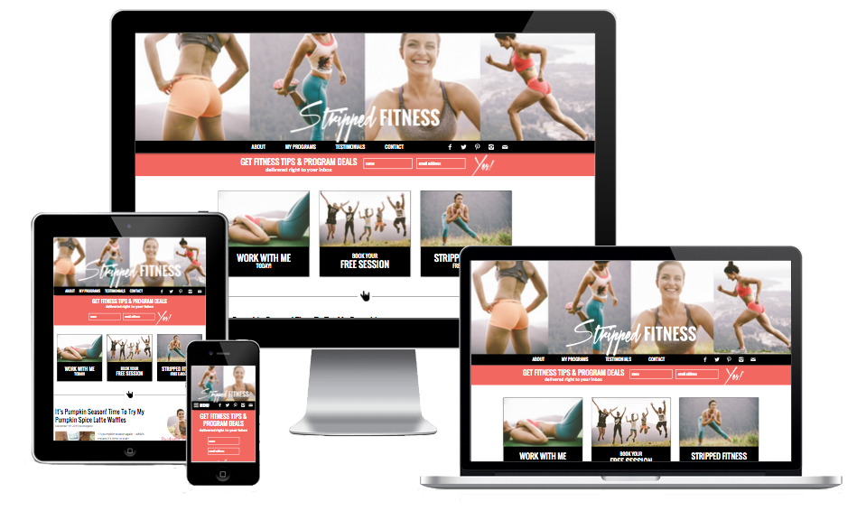 Image of computer monitor, laptop, tablet, and smartphone showing responsive Stripped Fitness website