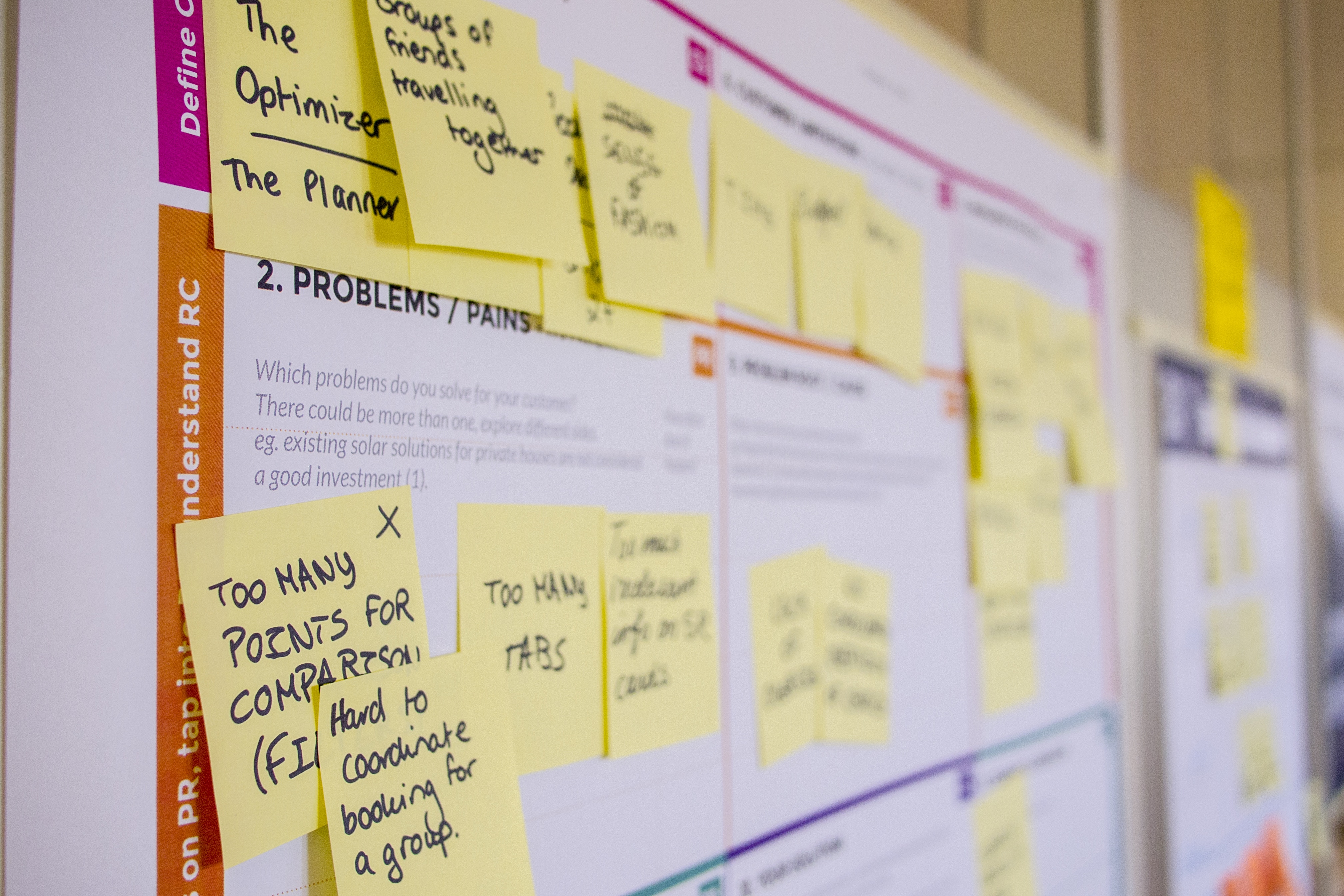 Photo of wall with project board and many post-it notes with writing on them