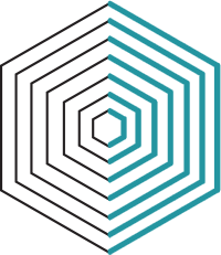 Consulting Icon - Concentric hexagons in black and teal